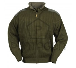 Knitted Jacket with Fleece Neck