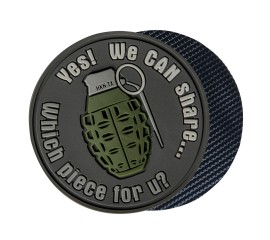 """WE CAN SHARE"" GRENADE PATCH - PVC - GREY - HELIKON TEX"